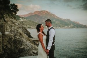 portrait of bride and groom in Amalfi Coast Ravello during a Destination Wedding