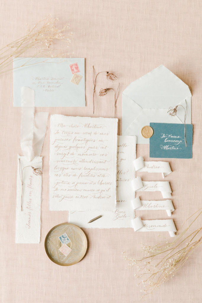 wedding stationery on cotton paper